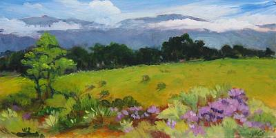Early California Landscape Painting - Peacock Vineyard by Barbara Moore
