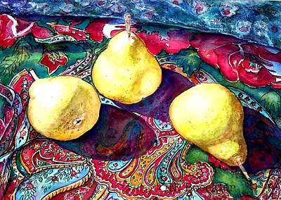 Pears And Paisley Print by Norma Boeckler