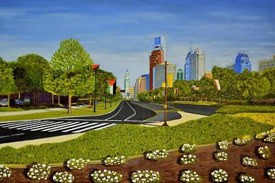 Philadelphia Skyline Painting - Philadelphia Skyline by Michael Walsh