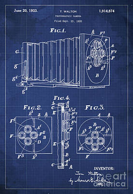Patent Drawing - Photographic Camera Patent Year 1930 by Pablo Franchi