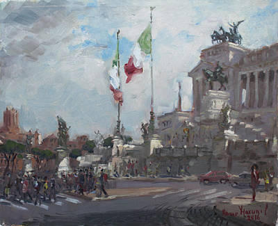 Piazza Painting - Piazza Venezia Rome by Ylli Haruni