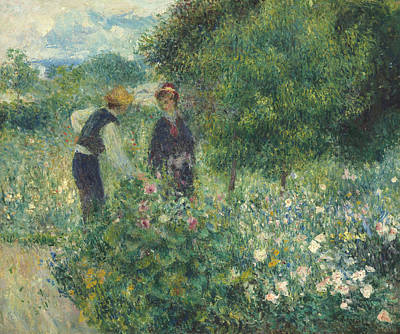 Man And Woman Painting - Picking Flowers by Pierre Auguste Renoir