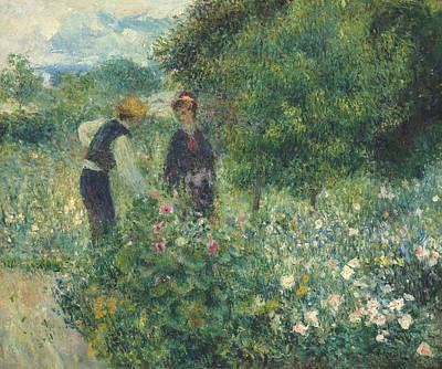 Bed Painting - Picking Flowers by Pierre Auguste Renoir