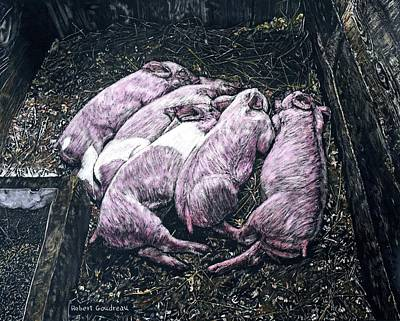 Scratchboard Painting - Piglets by Robert Goudreau