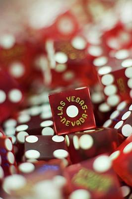 Risk Photograph - Pile Of Dice At A Casino, Las Vegas, Nevada by Christian Thomas