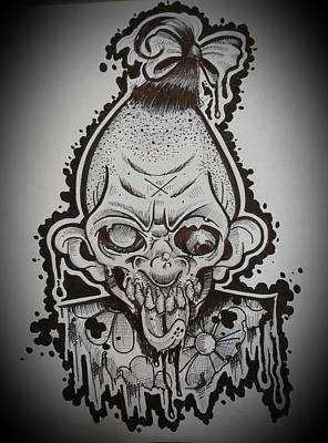 Serial Killer Drawing - Pinhead Of The Dead by Ryan Almighty