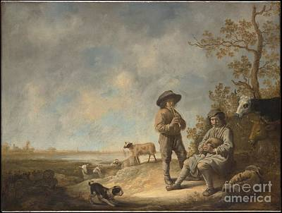 Dutch Shepherd Painting - Piping Shepherds by Celestial Images
