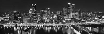 Urban Scenes Photograph - Pittsburgh Pennsylvania Skyline At Night Panorama by Jon Holiday