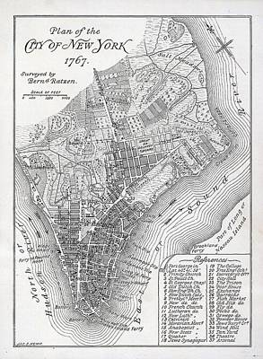 Lower Manhattan Painting - Plan Of The City Of New York by American School