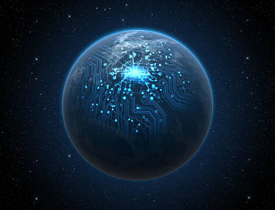 Planet With Illuminated Network Print by Allan Swart