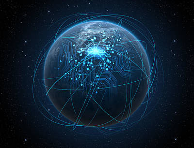 Data Digital Art - Planet With Illuminated Network And Light Trails by Allan Swart