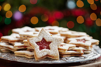 Plate Of Christmas Cookies Under Lights Print by Leslie Banks