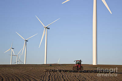 Plowing Field On Wind Farm Print by Inga Spence