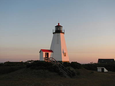 Plymouth Lighthouse At Sunrise Print by Brian Mazzoli