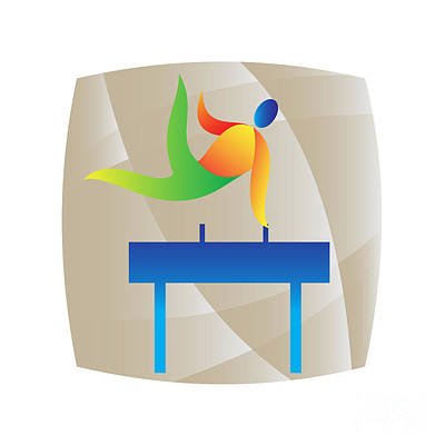 Gymnasts Digital Art - Pommel Horse Gymnastics Square Retro by Aloysius Patrimonio
