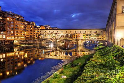 Corridor Photograph - Ponte Vecchio Bridge In Florence, Italy. Arno River At Night by Michal Bednarek