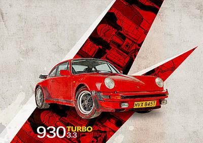 Boxer Digital Art - Porsche 930 Turbo 3.3 by Yurdaer Bes