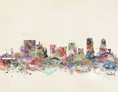 Colourfull Painting - Portland City Skyline by Bri B