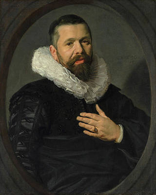 Men Painting - Portrait Of A Bearded Man With A Ruff by Frans Hals