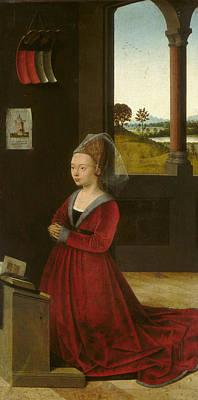 Devotional Painting - Portrait Of A Female Donor by Petrus Christus