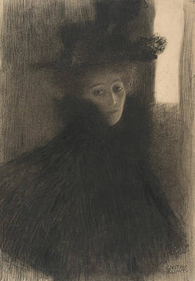 Klimt Drawing - Portrait Of A Lady With Cape And Hat  by Gustav Klimt