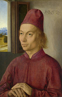Indoor Painting - Portrait Of A Man by Dieric Bouts