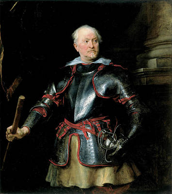 Aged Painting - Portrait Of A Man In Armor by Anthony van Dyck