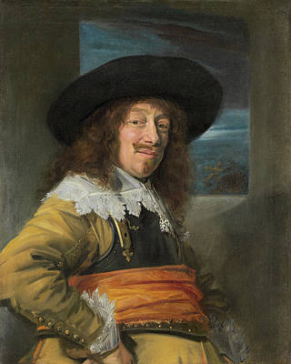 Male Painting - Portrait Of A Member Of The Haarlem Civic Guard by Frans Hals