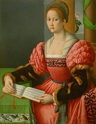 Bacchiacca Painting - Portrait Of A Woman With A Book Of Music by Bacchiacca