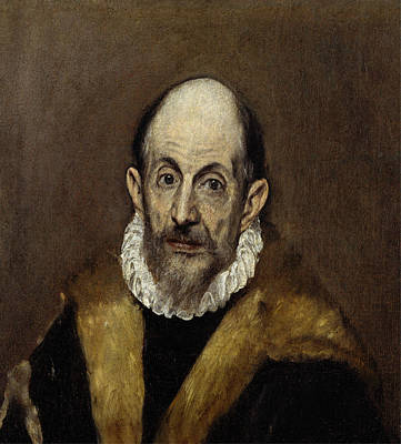 Man Painting - Portrait Of An Old Man by El Greco