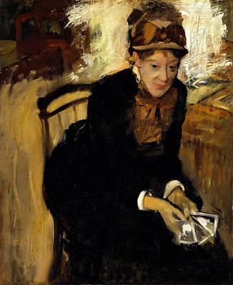 Gaming Painting - Portrait Of Miss Cassatt Holding The Cards by Edgar Degas