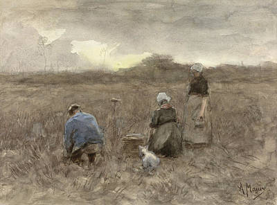 Drawing - Potato Harvesters by Anton Mauve