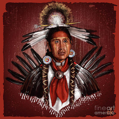 Native American Drawing - Pow Wow Dancer by Andre Koekemoer