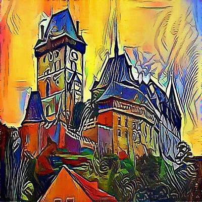 Praha Drawing - Castle Karlstejn - My Www Vikinek-art.com by Viktor Lebeda
