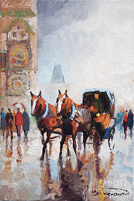 Town Square Painting - Prague Old Town Square by Yuriy  Shevchuk