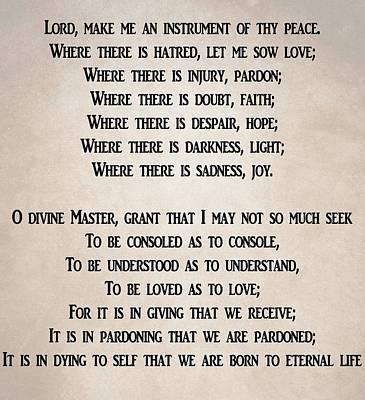 Joy Mixed Media - Prayer Of Saint Francis by Dan Sproul