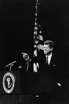 Press Conference Photograph - President Kennedy Pointing by Everett
