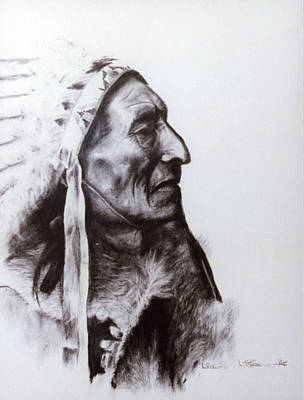 Sioux Drawing - Pretty Voice Eagle by Wendy A Rosier