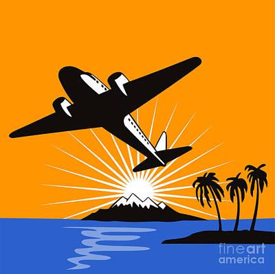 Airliners Digital Art - Propeller Airplane Retro by Aloysius Patrimonio