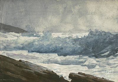 Coastal Drawing - Prouts Neck, Breakers by Winslow Homer