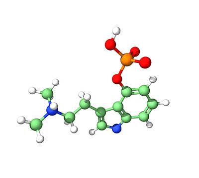 Psychedelic Photograph - Psilocybin Hallucinogen Molecule by Dr Tim Evans