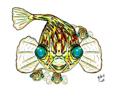Fish Underwater Painting - Puffer Fish by W Gilroy