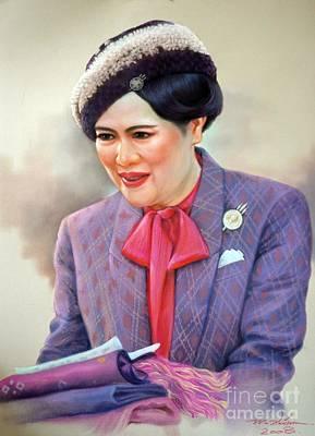 Thai Drawing - Queen Sirikit by Chonkhet Phanwichien