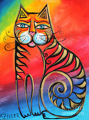 Cats Painting - Rainbow Cat by Karin Zeller