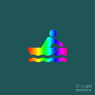 Rowboat Mixed Media - Rainbow Rowboat. by Frederick Holiday