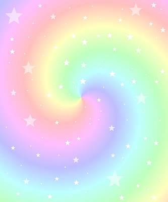 Mint Digital Art - Rainbow Swirl With Stars by Marianna Mills