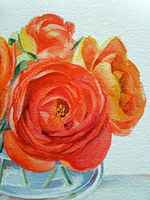 Glass Vase Painting - Ranunculus by Irina Sztukowski