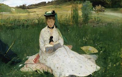 Parasol Painting - Reading by Berthe Morisot
