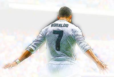 Decoupage Digital Art - Real Madrid's Cristiano Ronaldo by Don Kuing