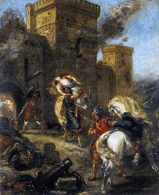 Rebecca Kidnapped By The Templar Print by Eugene Delacroix